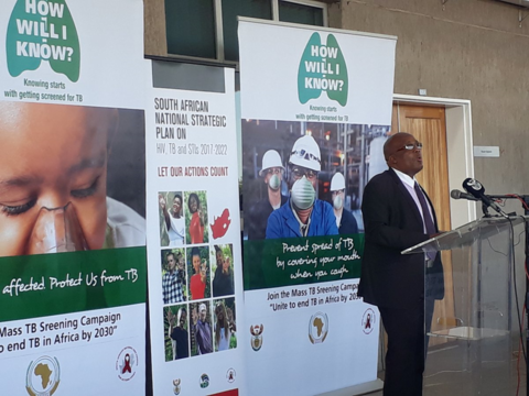 Dr Aaron Motsoaledi, Minister of Health at the launch of the MDR- TB 9 month regimen.