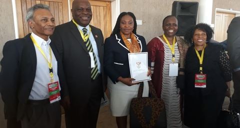 From left to right: Dr Yogan Pillay (Deputy Director - General: HIV/AIDS, TB and Maternal, Child and Women's Health, National Department of Health), Dr Rufaro Chatora (WHO Representative), Yvonne Chaka Chaka (Singer), Dr Esther Muia (UNFPA Representative) and Ms Malebona Matsoso (Director General, National Department of Health)