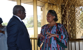 UNFPA ESARO Regional Director Dr. Julitta Onabanjo discusses HIV revitalisation with UNFPA Zimbabwe Country Representative Mr. Cheikh Tidiane Cisse